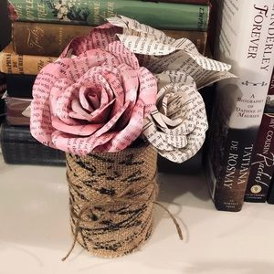 Book Lover's Rose Bouquet From Book Pages
